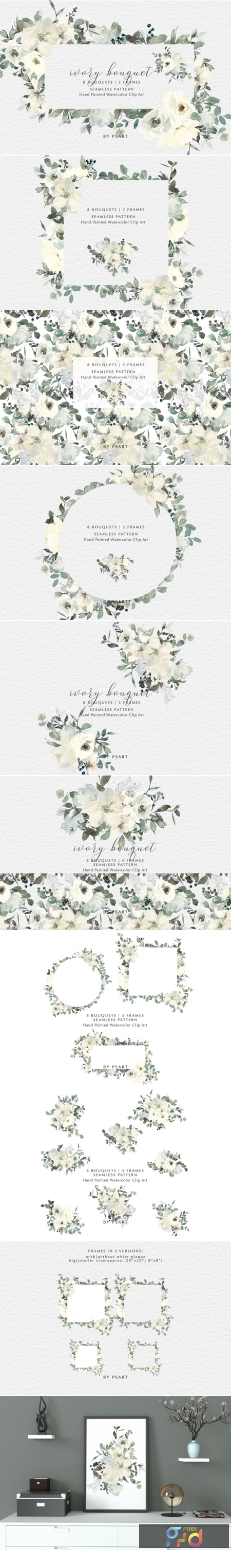Ivory Watercolor Bouquets Frames Pattern 2687482 1