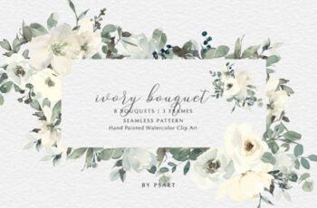 Ivory Watercolor Bouquets Frames Pattern 2687482 3