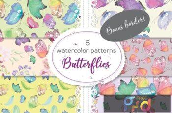 Set of 6 Patterns in Colorful Butterflies 5LDJX5Z 5