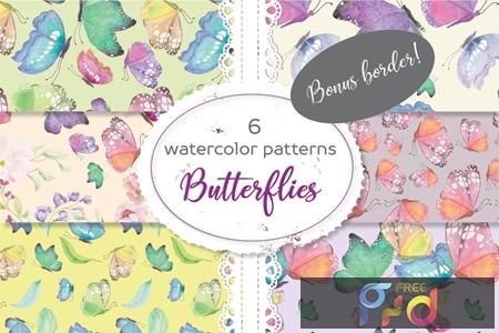 Set of 6 Patterns in Colorful Butterflies 5LDJX5Z 1