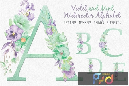 Violet and Mint Floral Alphabet J7CKF4A 1