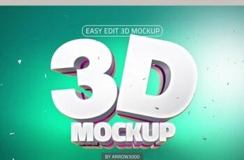 3D Text Logo Mockup 23720872