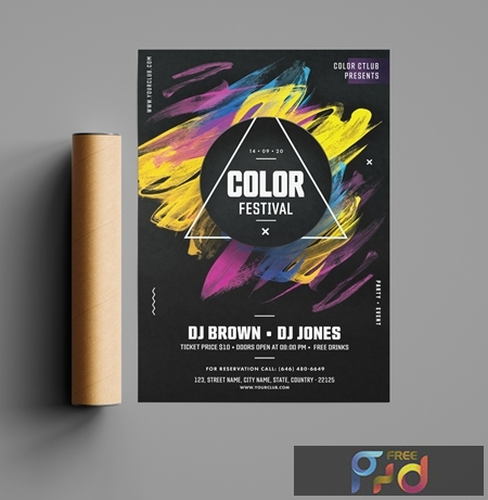 Black Festival Event Flyer Layout with Bright Brushtroke Elements 321299630 1