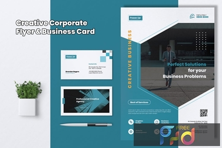 POWER UP Creative Agency Flyer & Business Card DHLCU53 1
