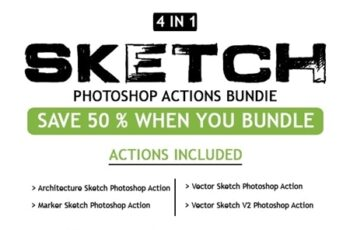 Sketch 4 IN 1 Photoshop Action Bundle 25708636 6