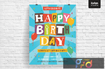 Isolated cut out letters Happy Birthday Brochure BW49LYF 2