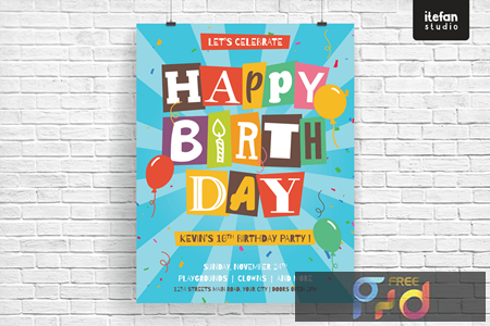 Isolated cut out letters Happy Birthday Brochure BW49LYF 1
