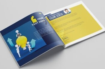 Blue and Yellow Square Business Brochure Layout with Character Illustrations 321102575