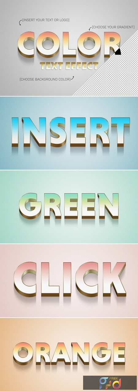 Gradient 3D Text Effect with Gold Stroke Element 322108193 1