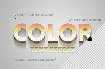 Gradient 3D Text Effect with Gold Stroke Element 322108193 6