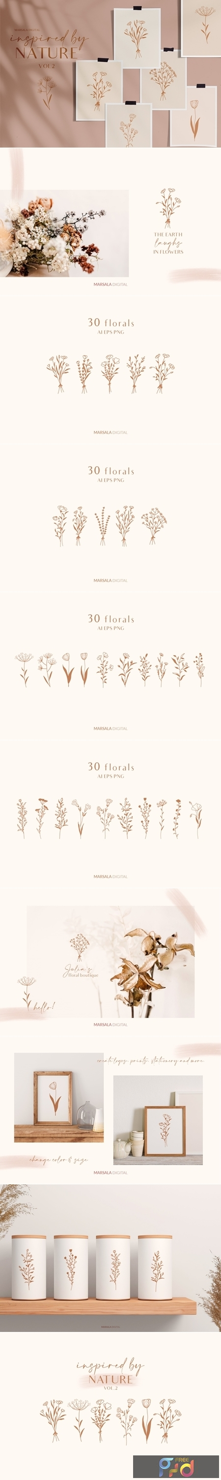 Floral Line Drawings Logo Elements 4458426 1