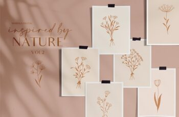 Floral Line Drawings Logo Elements 4458426 5