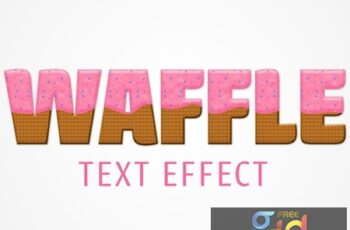 Waffle Text Effect Mockup with Pink Frosting and Color Chips Topping 322147612 8