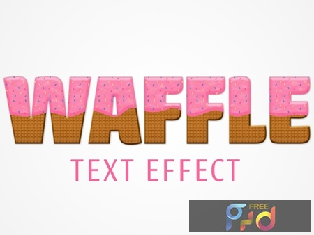 Waffle Text Effect Mockup with Pink Frosting and Color Chips Topping 322147612 1
