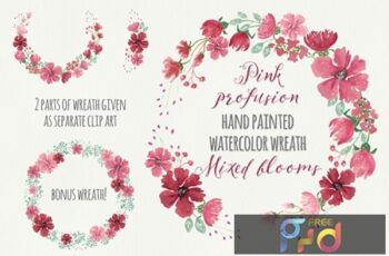 Pink Profusion Watercolor Wreath FF8MUT2 4
