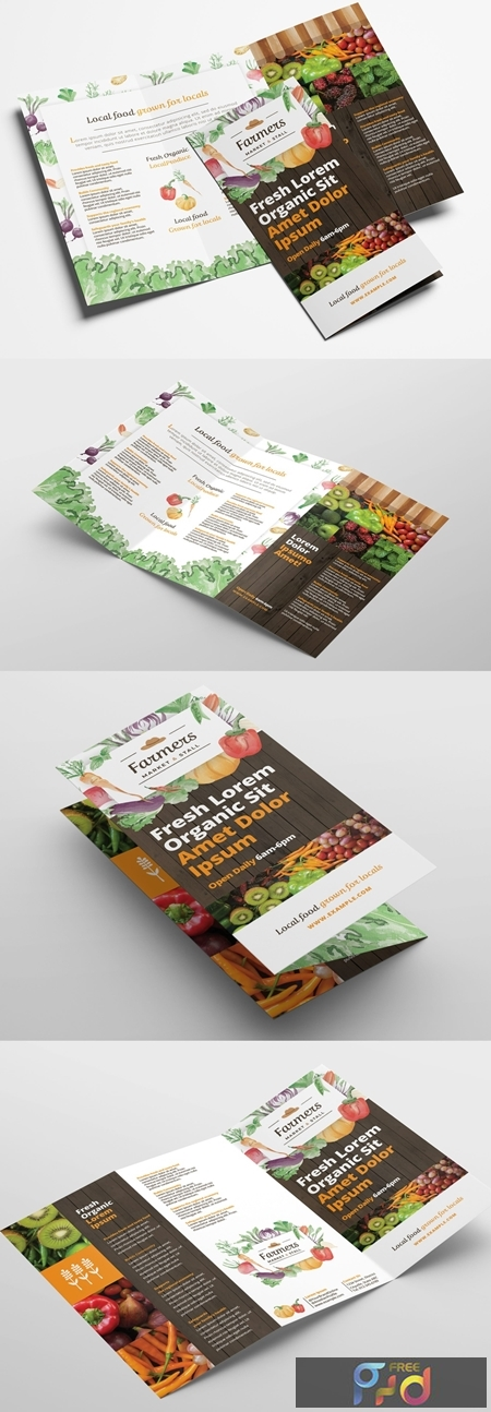 Trifold Brochure Layout with Organic Farmers Market Theme 322611265 1