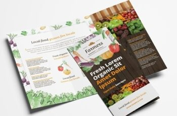 Trifold Brochure Layout with Organic Farmers Market Theme 322611265 6