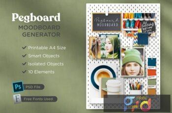 Print-Ready A4 Pegboard Moodboard Scene Creator XL7XRG6 5