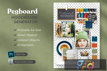 Print-Ready A4 Pegboard Moodboard Scene Creator XL7XRG6 1