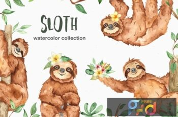 Watercolor cute sloth and tropical plants CEHKLWP 2