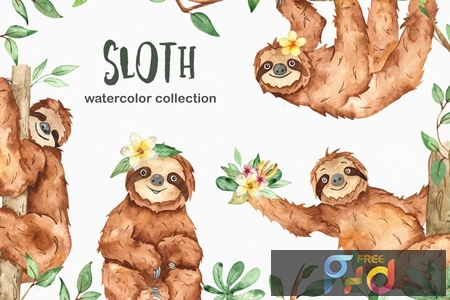 Watercolor cute sloth and tropical plants CEHKLWP 1
