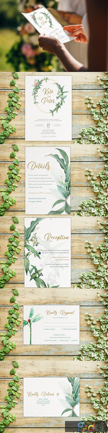 Greenery Wedding Invitation Template Set 2933725 1