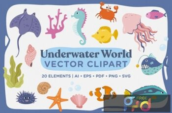 Underwater World Vector Clipart Pack KG7UDM2 5