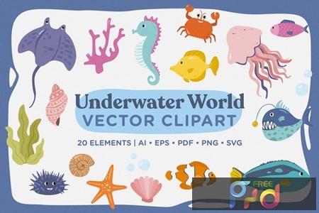 Underwater World Vector Clipart Pack KG7UDM2 1