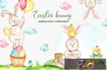 Watercolor Easter Bunny collection G9Z78JL 5