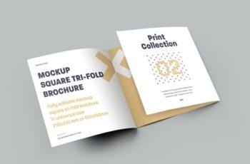 5 Mockup Set Square Tri-Fold Brochures 323040852 4