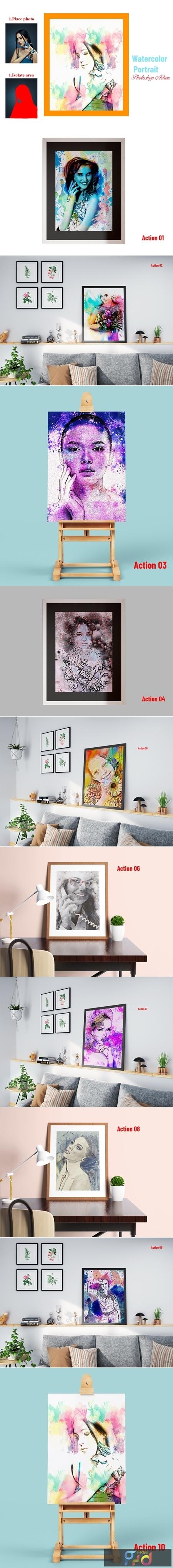 Watercolor Portrait Photoshop Action 4501392 1