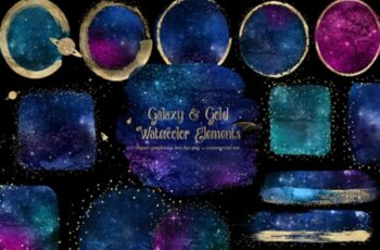 Galaxy and Gold Watercolor Elements 2967498 6
