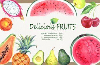 Watercolor Delicious Fruits Set 2967584 3