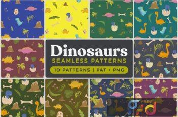 Cute Dinosaurs Seamless Patterns SSLFA7M 4