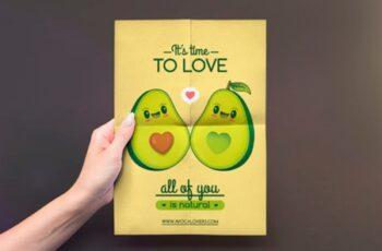 Cute Kawaii Avocados Love Flyer Template 2999826 7