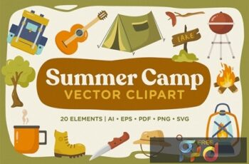 Summer Camp Vector Clipart Pack RSYND6B 4