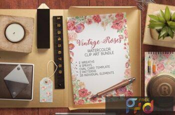 Vintage Roses Watercolor Clip Art Bundle D6PK2A7 9