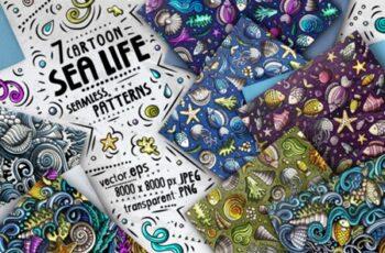 Sea Life Doodle Seamless Patterns Set 2999189 4