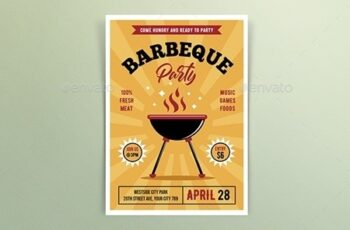Retro Barbeque Party Flyers 25795355 7