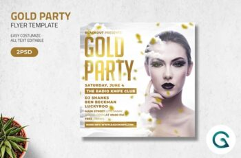 Gold Party Flyer Template 4571354 6
