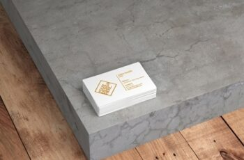 Stack of White Business Cards Mockup on Concrete Background 324647367 5