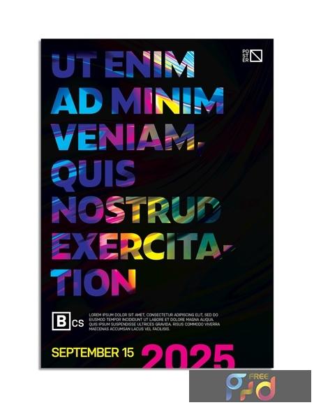 Colorful Poster Layout with Abstract Glowing Wave Text Overlay 318991481 1