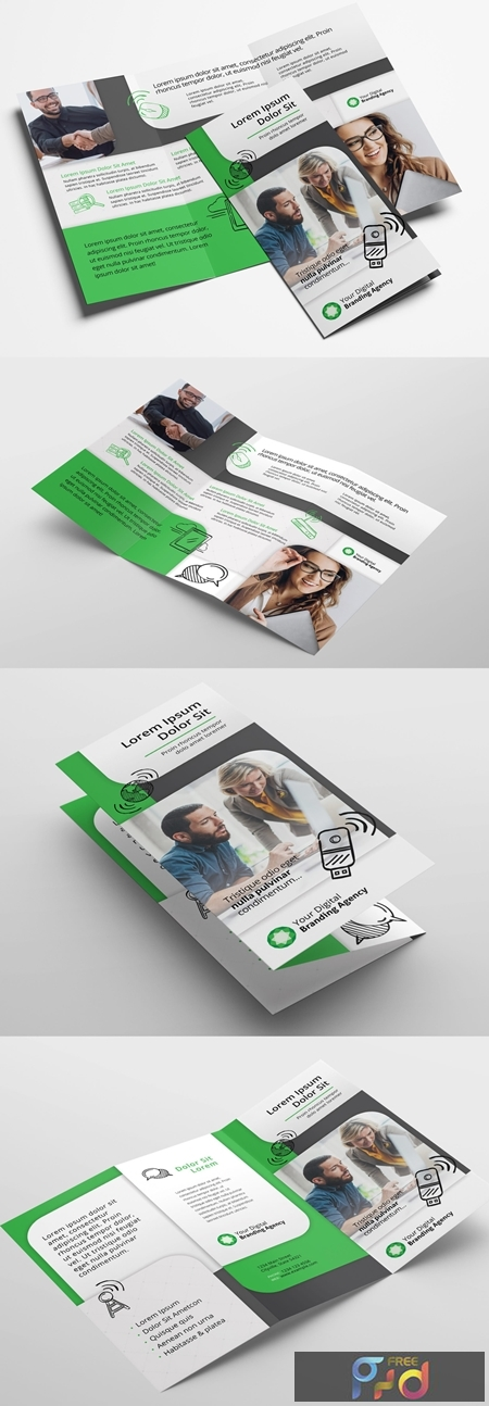 Trifold Brochure Layout with Green Accents 322351654 1