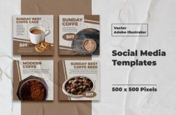 Coffe Instagram Templates Vector 3008127