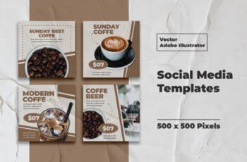 Coffe Instagram Templates Vector 3008137 6