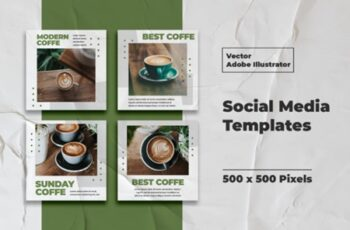 Coffe Instagram Templates Vector 3008147