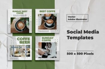 Coffe Instagram Templates Vector 3008152 6