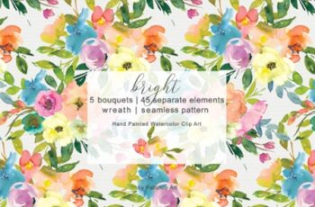 Colorful Watercolor Floral Clip Art 3008278