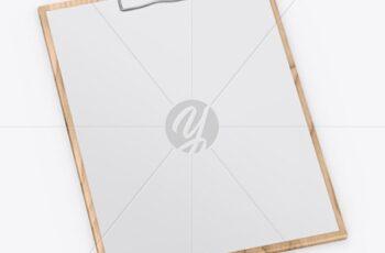 Wooden Clipboard W- A4 Paper Mockup 56049 2