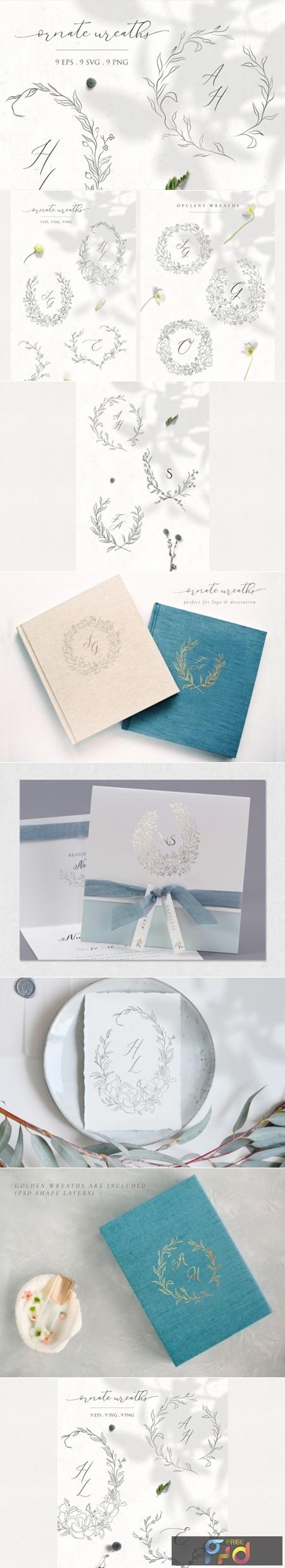 Floral Decorative Ornate Wreaths Clipart 3588359 1